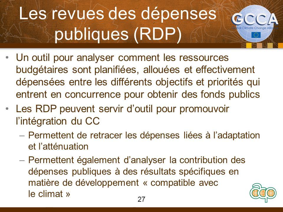 Les revues des dépenses publiques (RDP) Un outil pour analyser comment les ressources budgétaires sont planifiées, allouées et effectivement dépensées