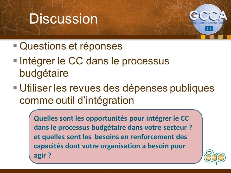 Discussion Questions et réponses Intégrer le CC dans le processus budgétaire Utiliser les revues des dépenses publiques comme outil dintégration Quell