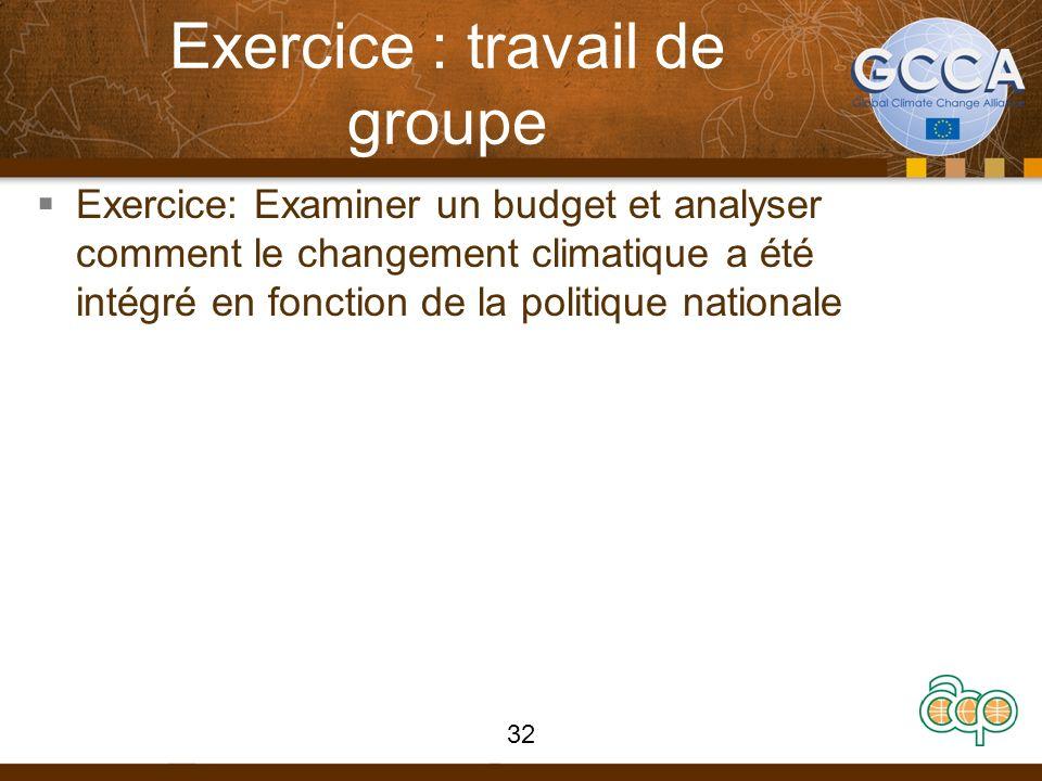 Exercice : travail de groupe Exercice: Examiner un budget et analyser comment le changement climatique a été intégré en fonction de la politique natio