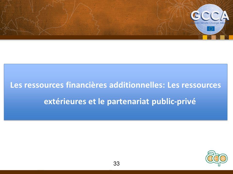 Les ressources financières additionnelles: Les ressources extérieures et le partenariat public-privé 33