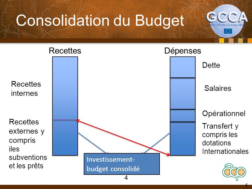 Consolidation du Budget 4 RecettesDépenses Recettes internes Recettes externes y compris iles subventions et les prêts Dette Salaires Opérationnel Transfert y compris les dotations Internationales Investissement- budget consolidé 4
