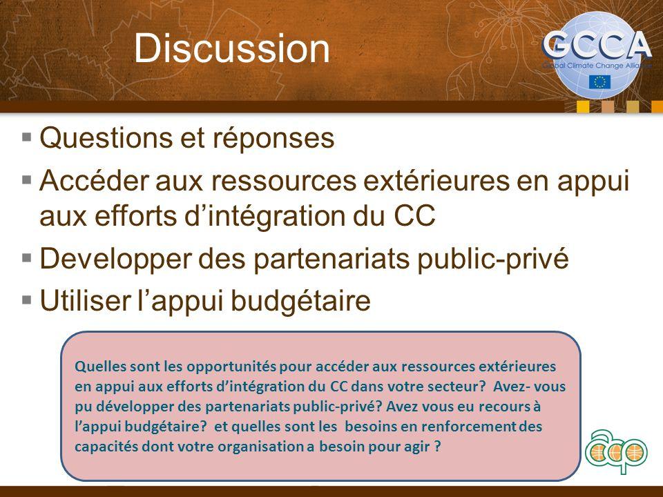 Discussion Questions et réponses Accéder aux ressources extérieures en appui aux efforts dintégration du CC Developper des partenariats public-privé U