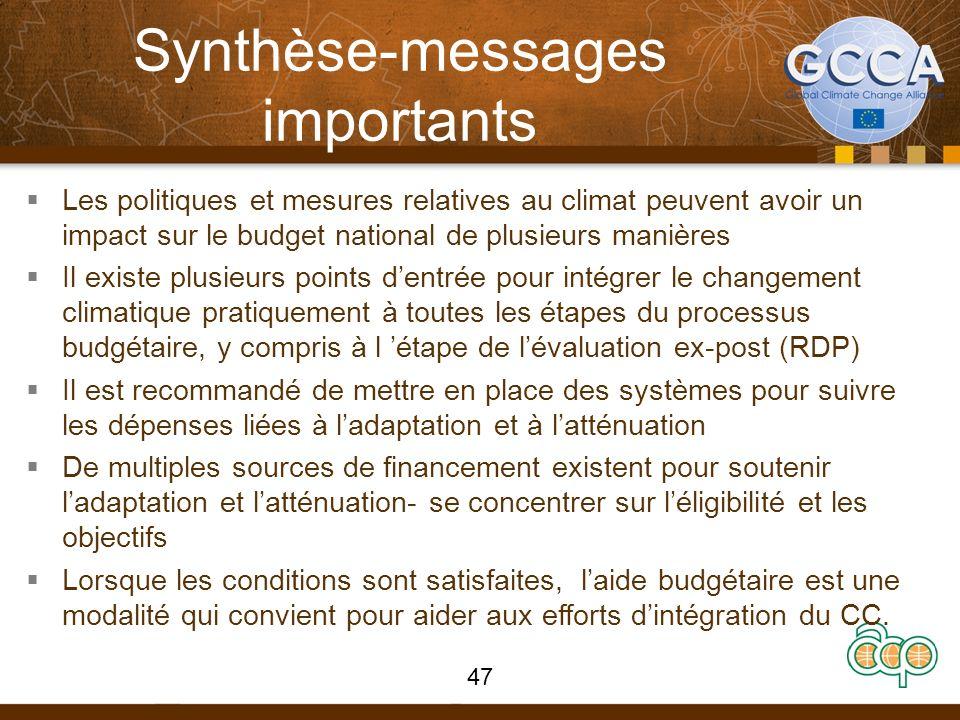 Synthèse-messages importants Les politiques et mesures relatives au climat peuvent avoir un impact sur le budget national de plusieurs manières Il exi