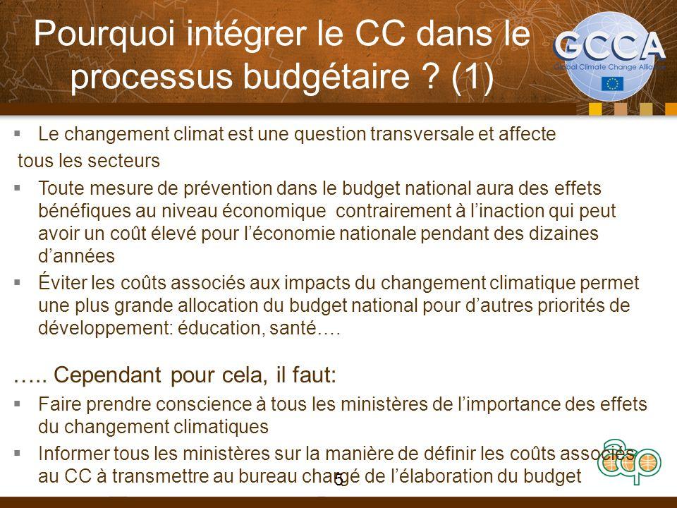 Pourquoi intégrer le CC dans le processus budgétaire ? (1) Le changement climat est une question transversale et affecte tous les secteurs Toute mesur