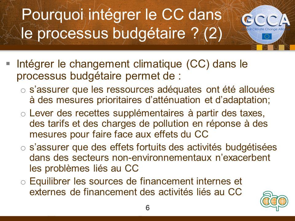 Questions pouvant guider lengagement dans le processus budgétaire La planification du budget et les dépenses sont elles orientées vers les bonnes priorités en vue de ladaptation et de latténuation du changement climatique .