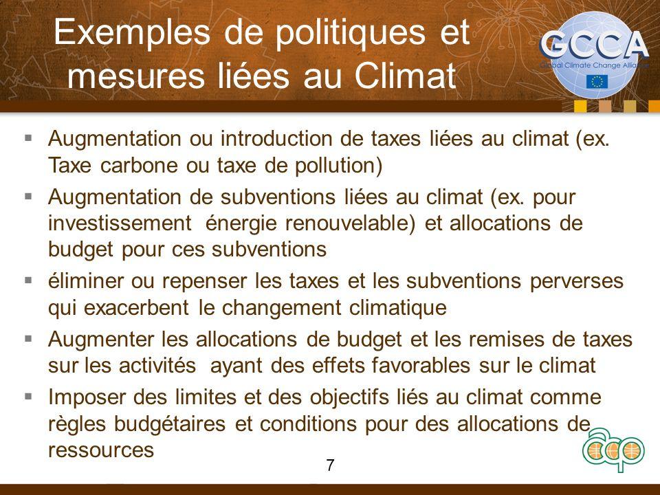 Exemples de politiques et mesures liées au Climat Augmentation ou introduction de taxes liées au climat (ex. Taxe carbone ou taxe de pollution) Augmen