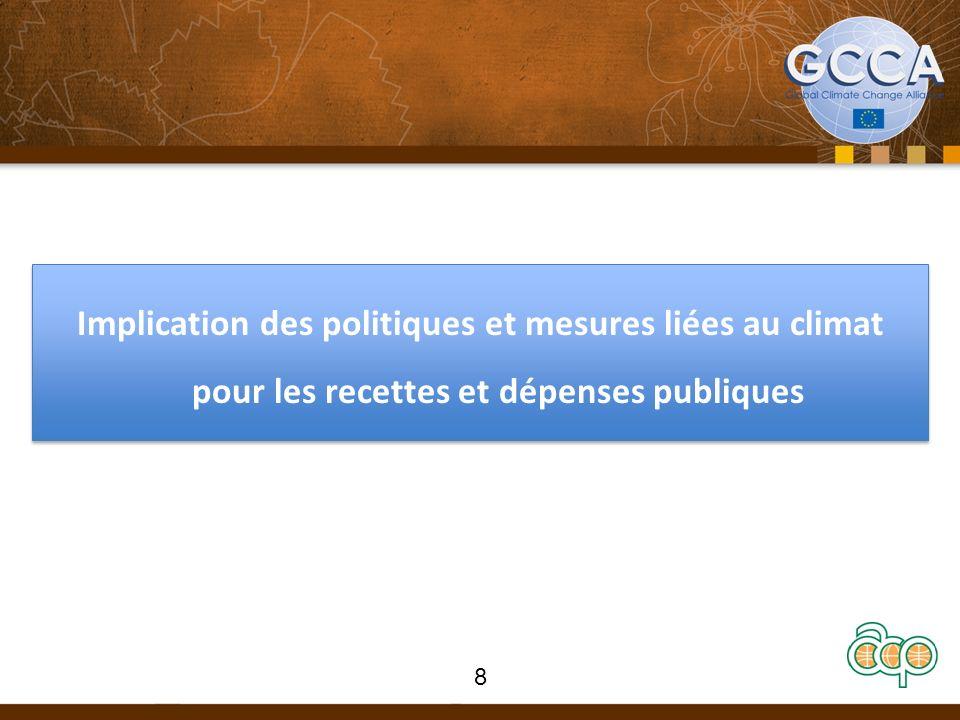 Implication des politiques et mesures liées au climat pour les recettes et dépenses publiques 8