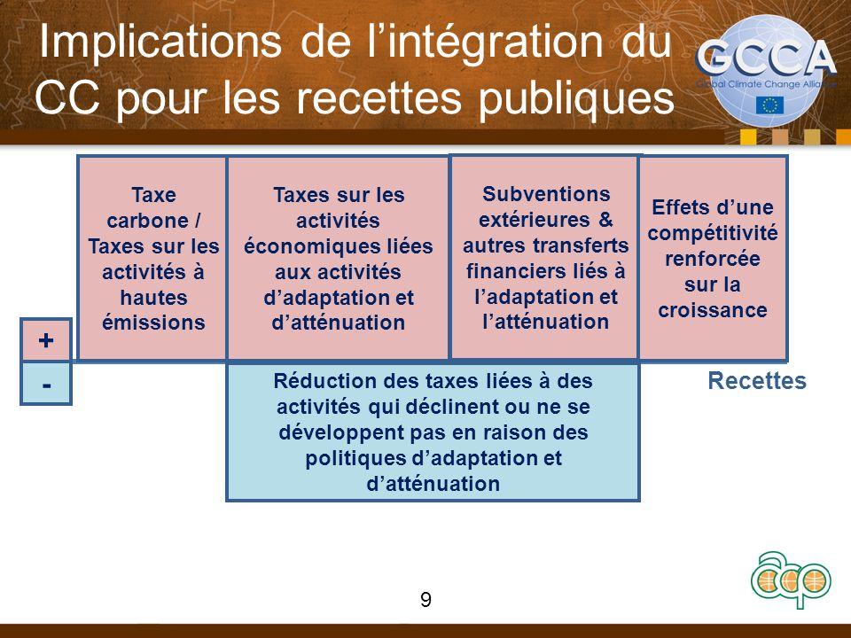 Implications de lintégration du CC pour les recettes publiques REVENUESREVENUES Recettes + - Taxe carbone / Taxes sur les activités à hautes émissions