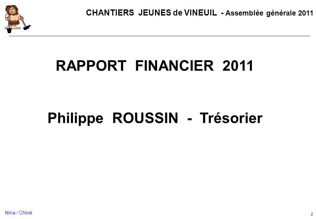 CHANTIERS JEUNES de VINEUIL - Assemblée générale 2011 2 RAPPORT FINANCIER 2011 Philippe ROUSSIN - Trésorier Nina / Chloé