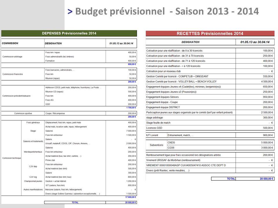 > Budget prévisionnel - Saison 2013 - 2014