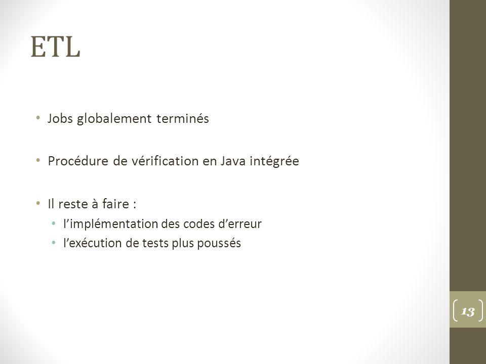 ETL Jobs globalement terminés Procédure de vérification en Java intégrée Il reste à faire : limplémentation des codes derreur lexécution de tests plus poussés 13