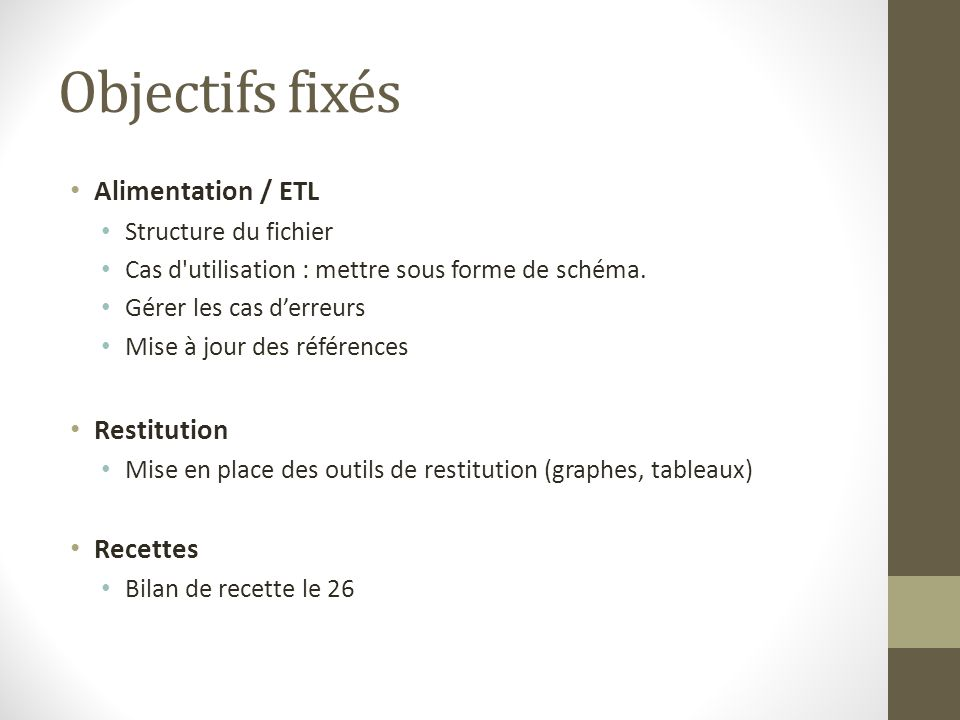 Objectifs fixés Alimentation / ETL Structure du fichier Cas d utilisation : mettre sous forme de schéma.