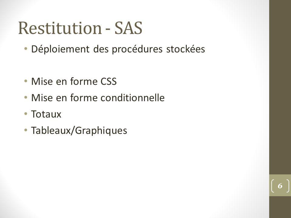 Restitution - SAS Déploiement des procédures stockées Mise en forme CSS Mise en forme conditionnelle Totaux Tableaux/Graphiques 6