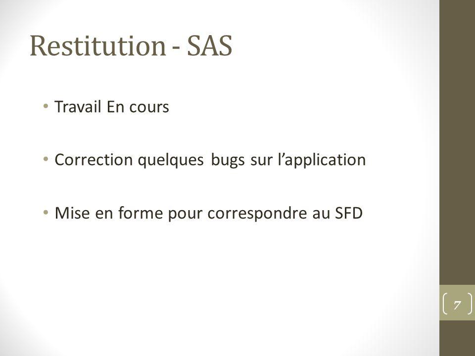 Restitution - SAS Travail En cours Correction quelques bugs sur lapplication Mise en forme pour correspondre au SFD 7