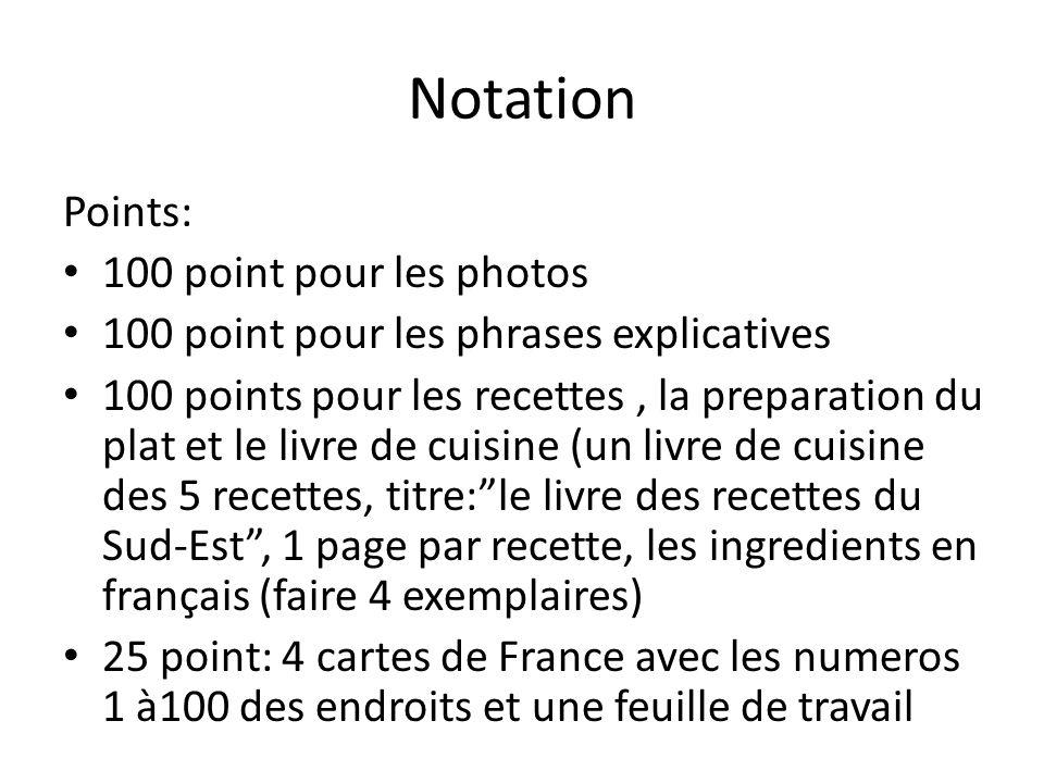 Notation Points: 100 point pour les photos 100 point pour les phrases explicatives 100 points pour les recettes, la preparation du plat et le livre de