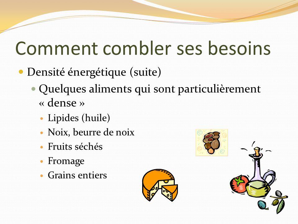 Comment combler ses besoins Densité énergétique (suite) Quelques aliments qui sont particulièrement « dense » Lipides (huile) Noix, beurre de noix Fru