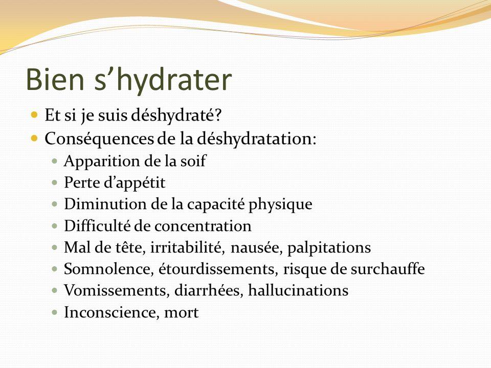 Bien shydrater Et si je suis déshydraté? Conséquences de la déshydratation: Apparition de la soif Perte dappétit Diminution de la capacité physique Di