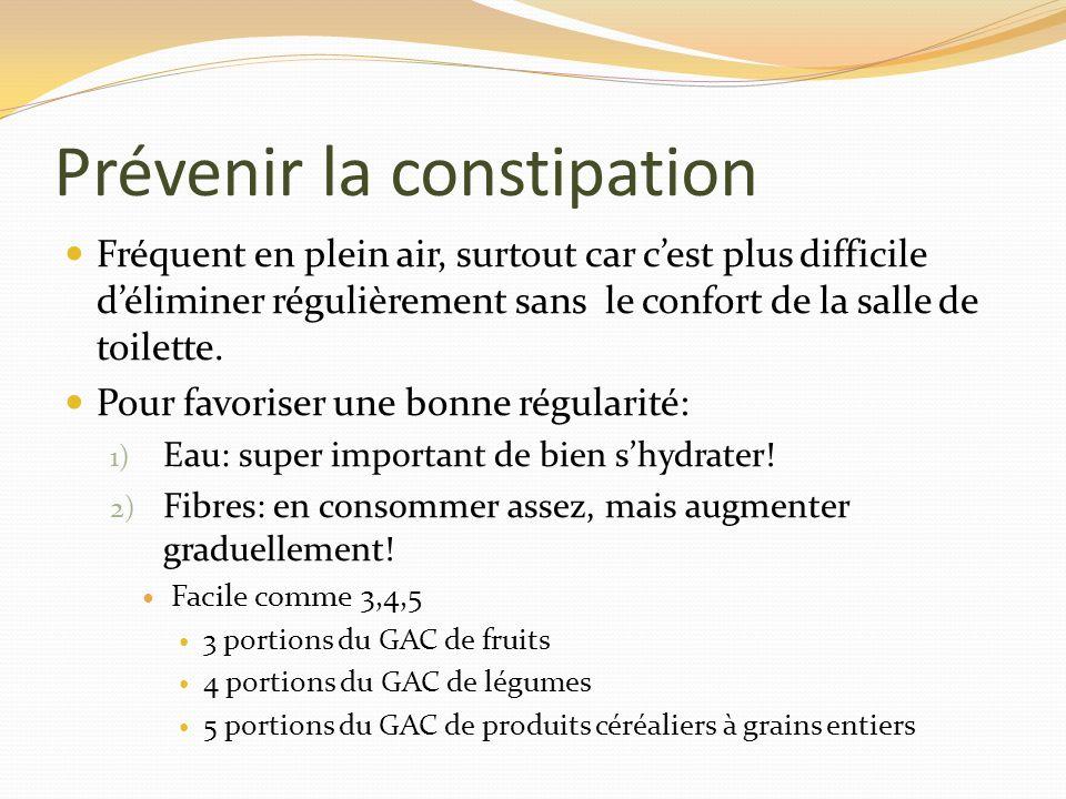 Prévenir la constipation Fréquent en plein air, surtout car cest plus difficile déliminer régulièrement sans le confort de la salle de toilette. Pour