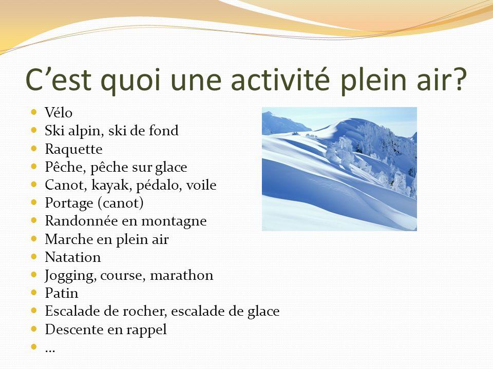 Ressources intéressantes www.geopleinair.com Onglet nutrition 20 recettes de bonheur à partager: http://www.geopleinair.com/recettes-plein-air/20- recettes-de-bonheur-a-partager http://www.geopleinair.com/recettes-plein-air/20- recettes-de-bonheur-a-partager Plein air, recettes et alimentation: un guide simple et pratique (Bibliothèque et Archives nationales du Québec, mars 2012) DU PLEIN AIR JEN MANGE (Natalie Lacombe, collection GéoPleinAir)