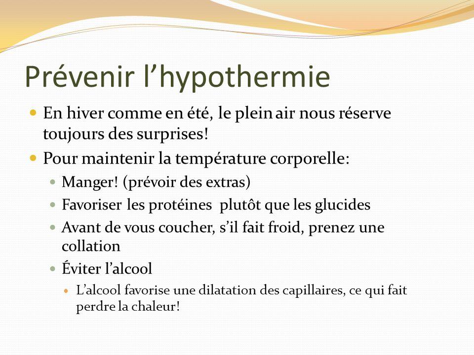 Prévenir lhypothermie En hiver comme en été, le plein air nous réserve toujours des surprises! Pour maintenir la température corporelle: Manger! (prév