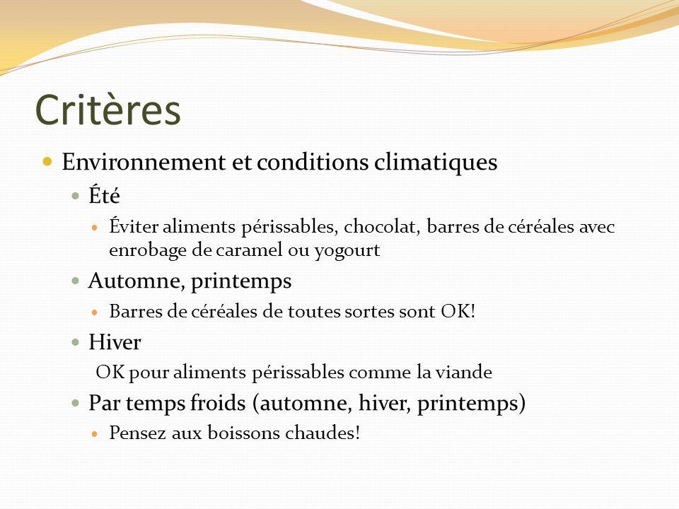 Critères Environnement et conditions climatiques Été Éviter aliments périssables, chocolat, barres de céréales avec enrobage de caramel ou yogourt Aut