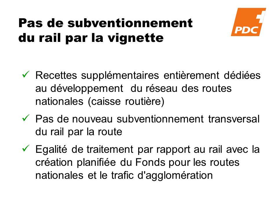 Pas de subventionnement du rail par la vignette Recettes supplémentaires entièrement dédiées au développement du réseau des routes nationales (caisse routière) Pas de nouveau subventionnement transversal du rail par la route Egalité de traitement par rapport au rail avec la création planifiée du Fonds pour les routes nationales et le trafic d agglomération