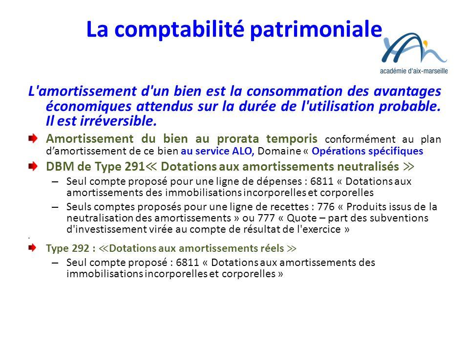 La comptabilité patrimoniale L'amortissement d'un bien est la consommation des avantages économiques attendus sur la durée de l'utilisation probable.