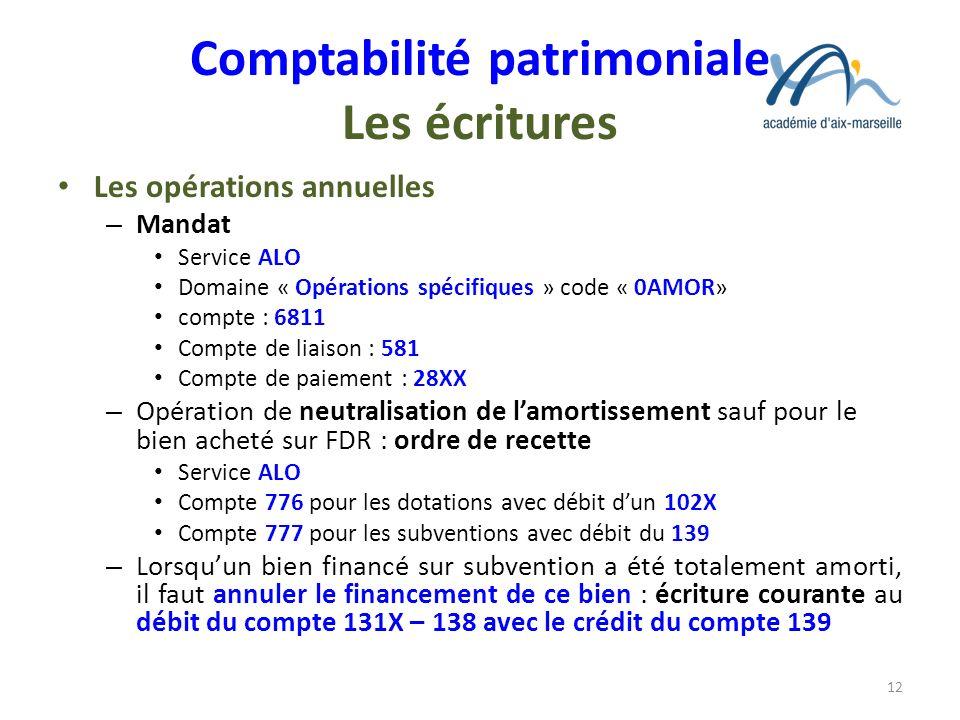 Comptabilité patrimoniale Les écritures Les opérations annuelles – Mandat Service ALO Domaine « Opérations spécifiques » code « 0AMOR» compte : 6811 C