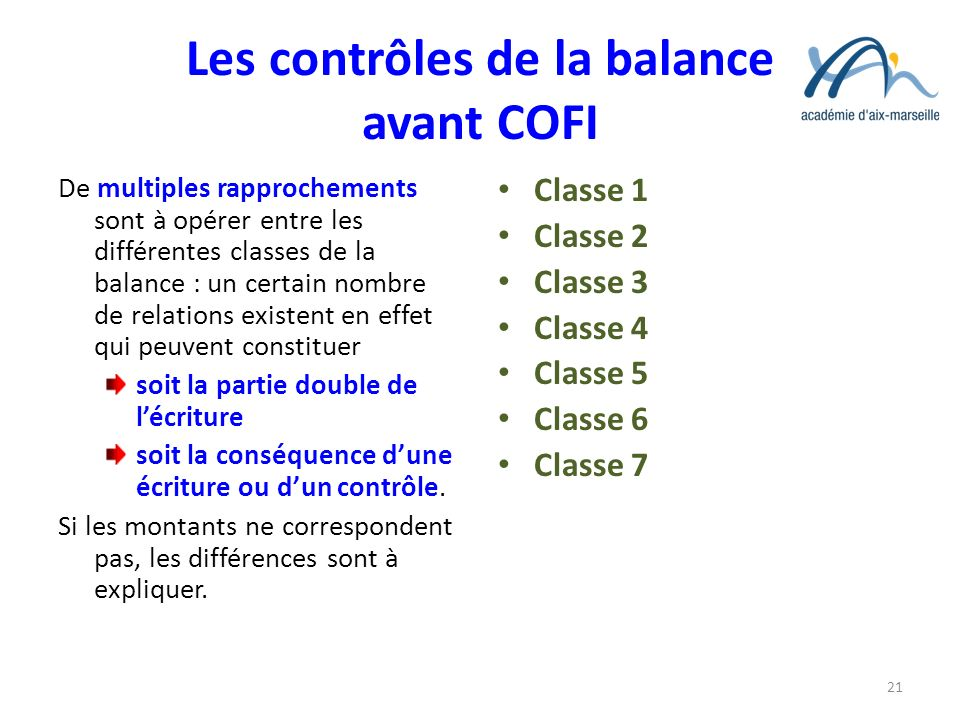 Les contrôles de la balance avant COFI De multiples rapprochements sont à opérer entre les différentes classes de la balance : un certain nombre de re