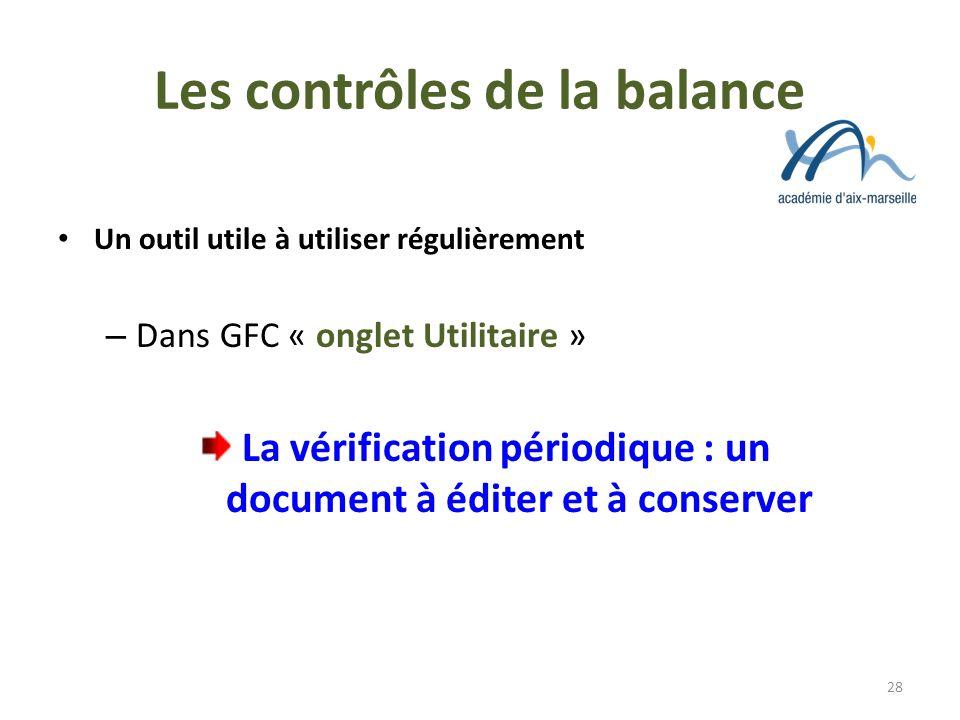 Les contrôles de la balance Un outil utile à utiliser régulièrement – Dans GFC « onglet Utilitaire » La vérification périodique : un document à éditer