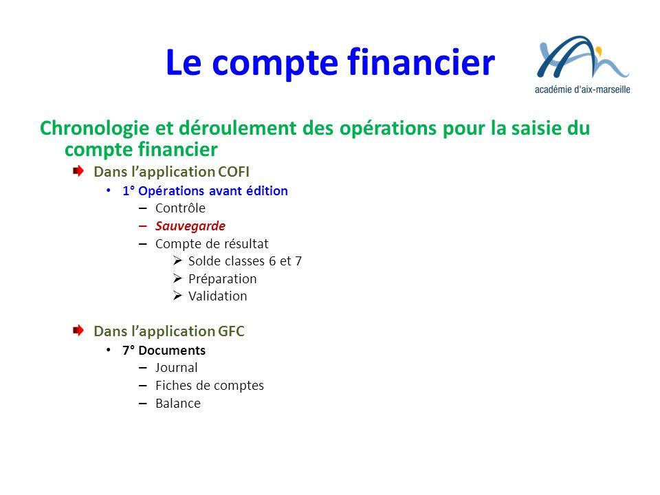 Le compte financier Chronologie et déroulement des opérations pour la saisie du compte financier Dans lapplication COFI 1° Opérations avant édition –