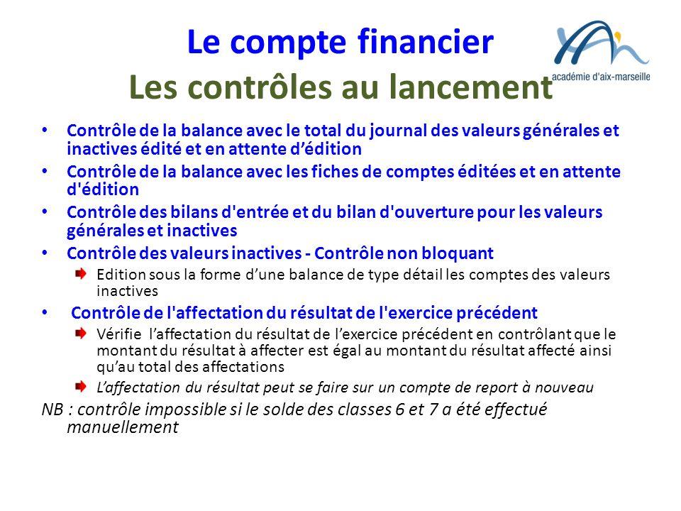 Le compte financier Les contrôles au lancement Contrôle de la balance avec le total du journal des valeurs générales et inactives édité et en attente