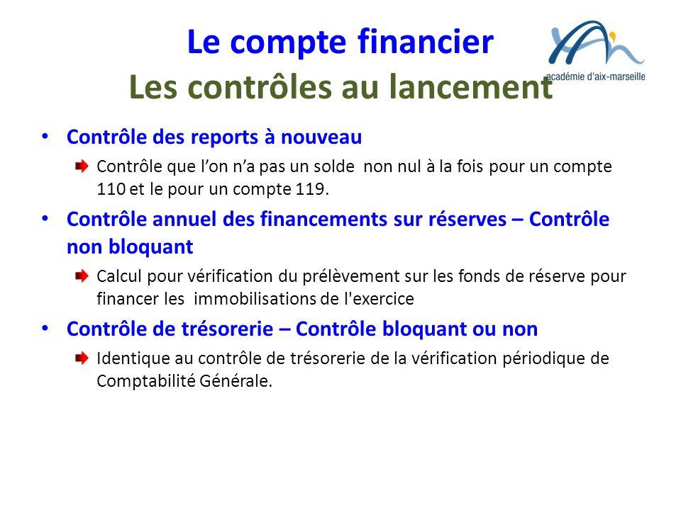 Le compte financier Les contrôles au lancement Contrôle des reports à nouveau Contrôle que lon na pas un solde non nul à la fois pour un compte 110 et