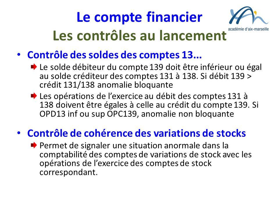 Le compte financier Les contrôles au lancement Contrôle des soldes des comptes 13... Le solde débiteur du compte 139 doit être inférieur ou égal au so