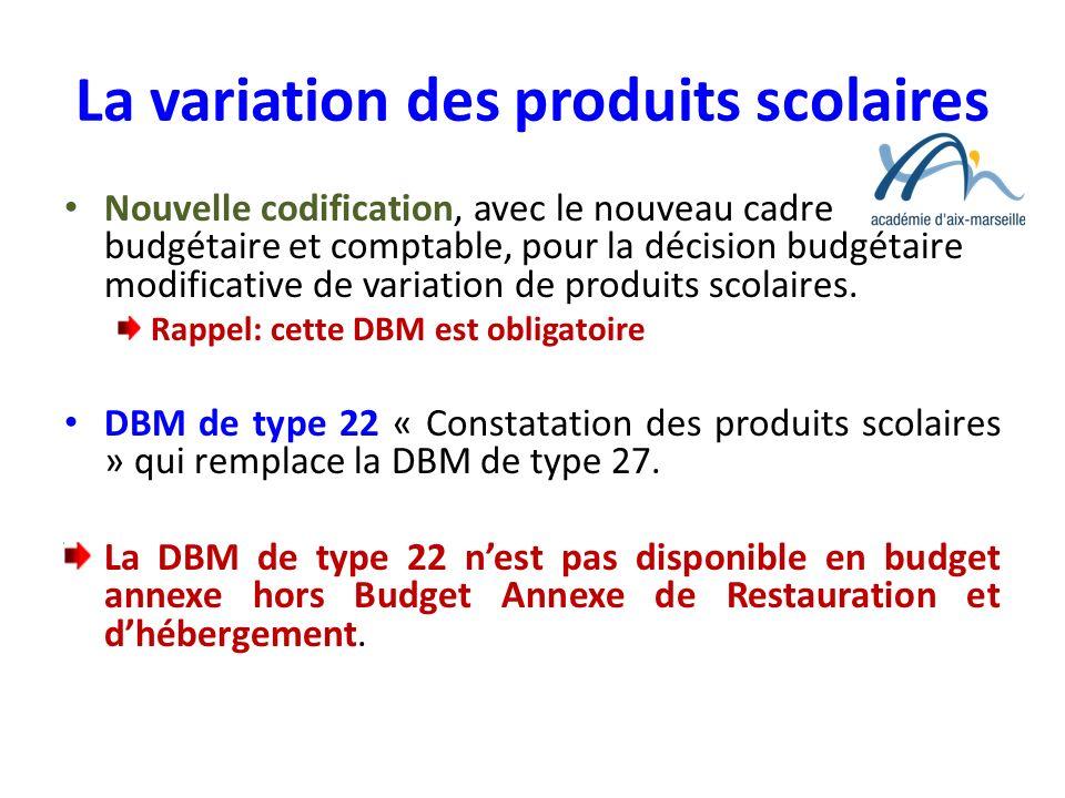 La variation des produits scolaires Nouvelle codification, avec le nouveau cadre budgétaire et comptable, pour la décision budgétaire modificative de