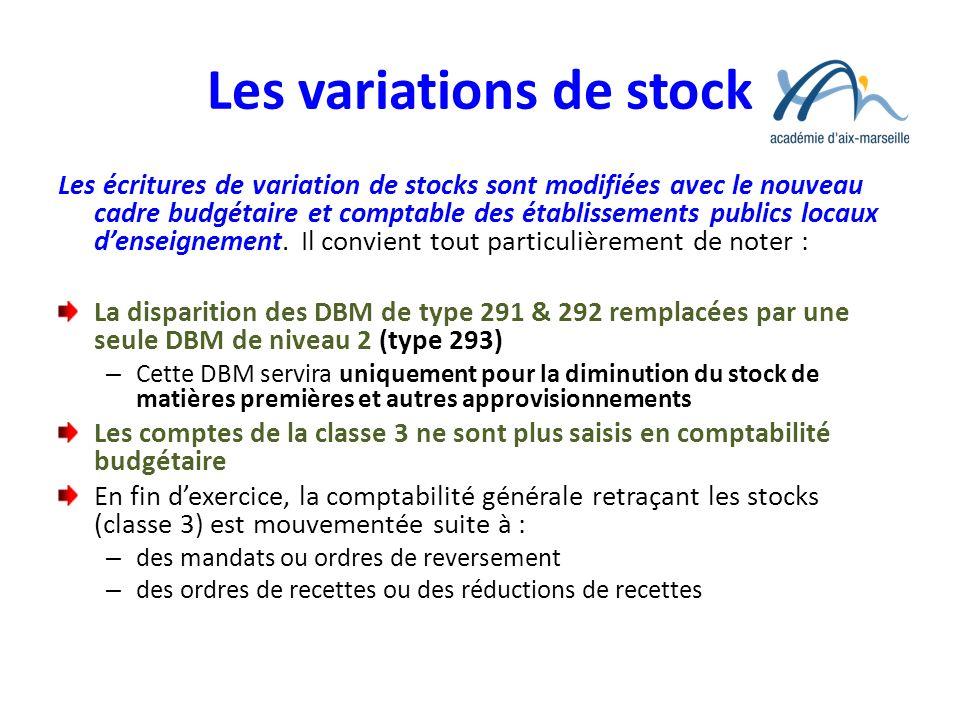 Les variations de stock Les écritures de variation de stocks sont modifiées avec le nouveau cadre budgétaire et comptable des établissements publics l