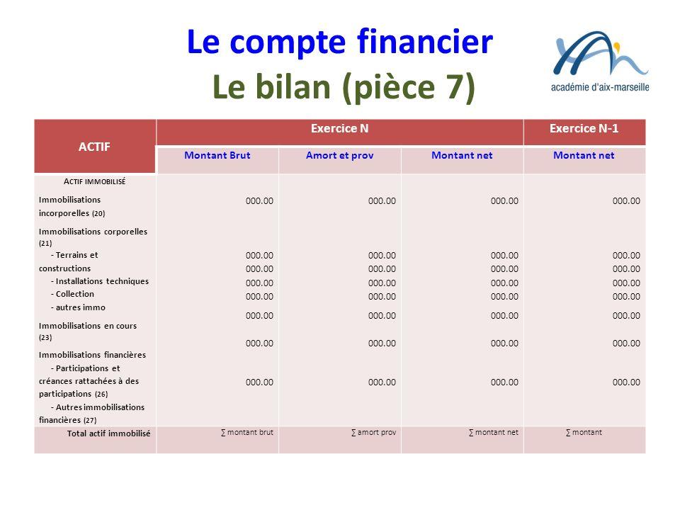 Le compte financier Le bilan (pièce 7) ACTIF Exercice NExercice N-1 Montant BrutAmort et provMontant net A CTIF IMMOBILISÉ Immobilisations incorporell