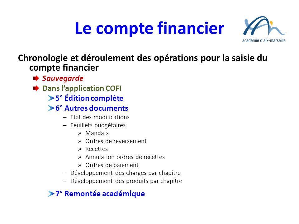 Le compte financier Chronologie et déroulement des opérations pour la saisie du compte financier Sauvegarde Dans lapplication COFI 5° Édition complète