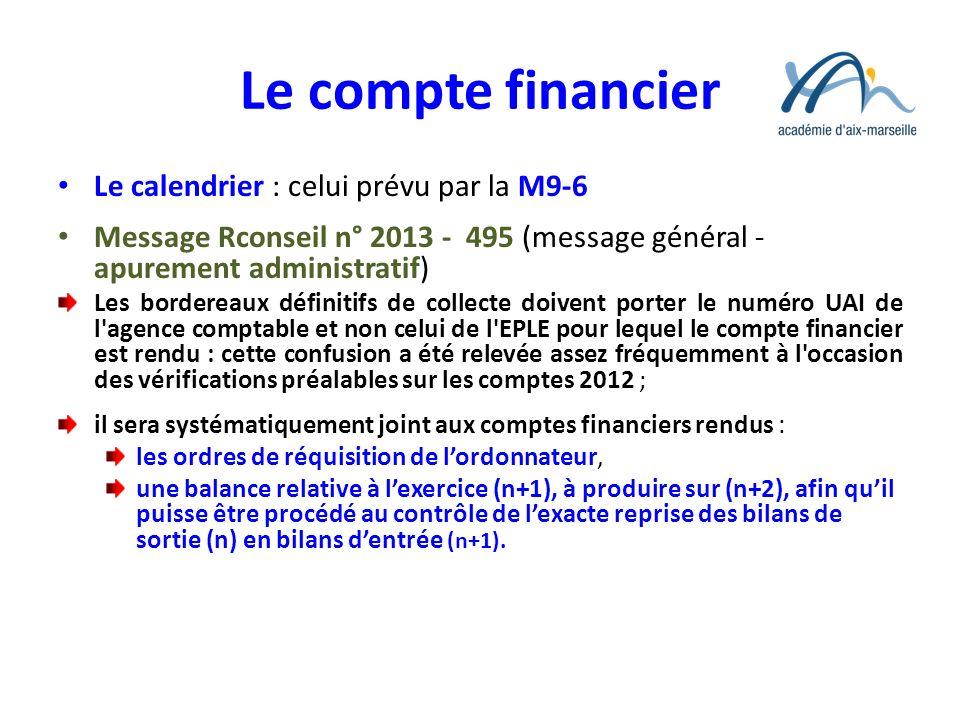 Le compte financier Le calendrier : celui prévu par la M9-6 Message Rconseil n° 2013 - 495 (message général - apurement administratif) Les bordereaux