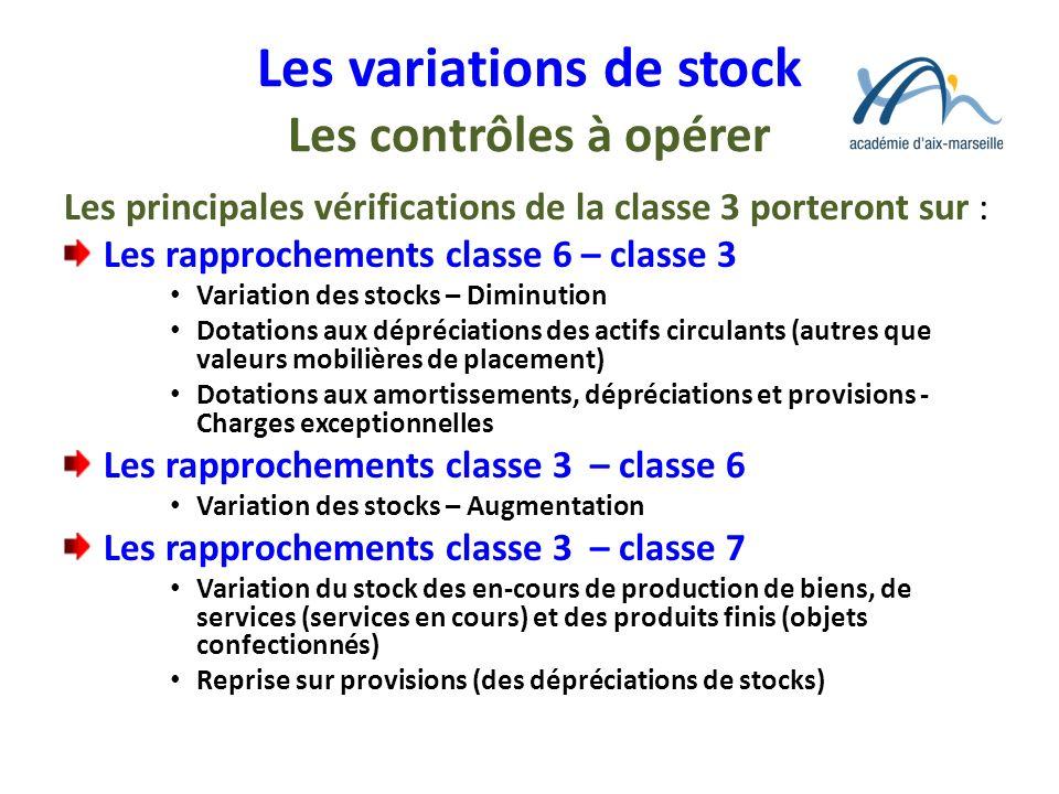 Les variations de stock Les contrôles à opérer Les principales vérifications de la classe 3 porteront sur : Les rapprochements classe 6 – classe 3 Var
