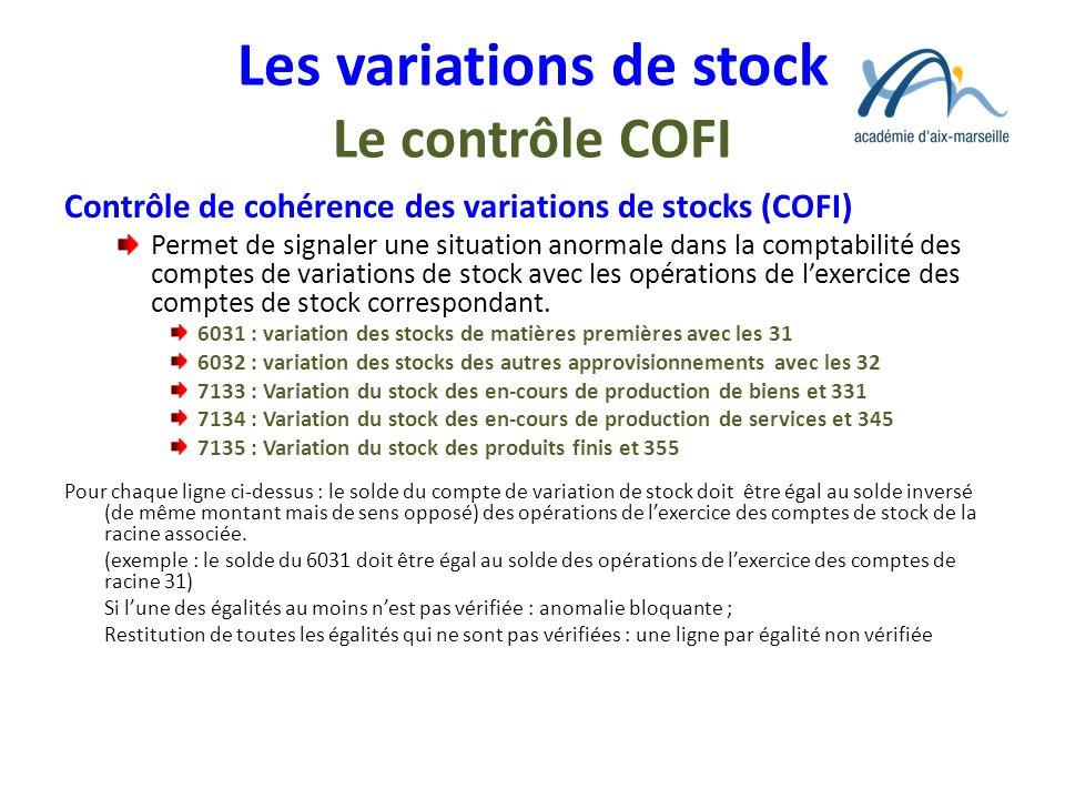 Les variations de stock Le contrôle COFI Contrôle de cohérence des variations de stocks (COFI) Permet de signaler une situation anormale dans la compt