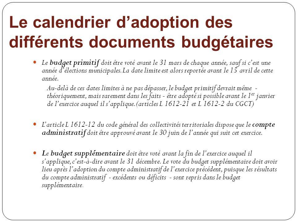 Le calendrier dadoption des différents documents budgétaires Le budget primitif doit être voté avant le 31 mars de chaque année, sauf si cest une anné