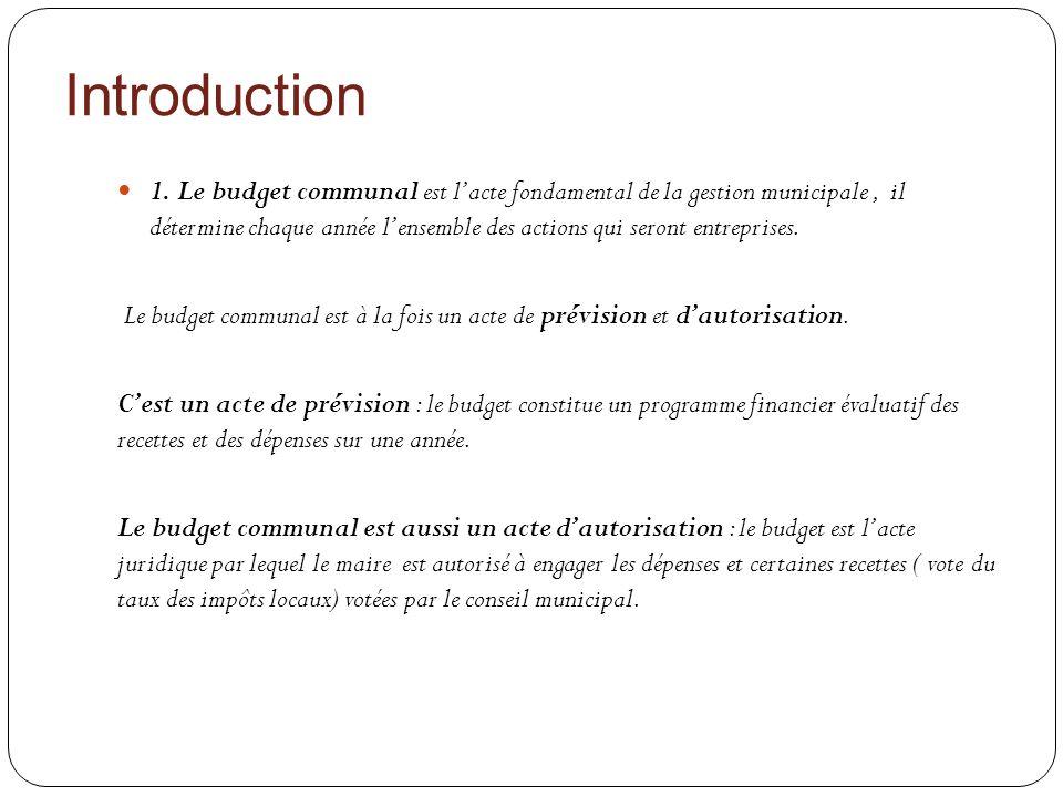 Introduction 1. Le budget communal est lacte fondamental de la gestion municipale, il détermine chaque année lensemble des actions qui seront entrepri