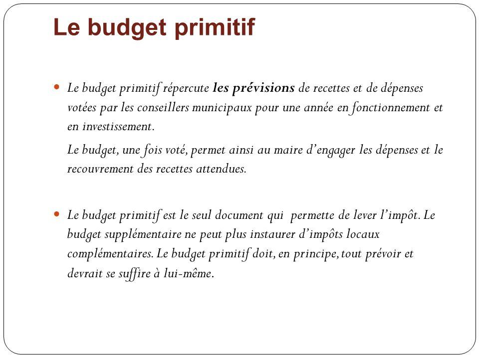 Le budget primitif Le budget primitif répercute les prévisions de recettes et de dépenses votées par les conseillers municipaux pour une année en fonc