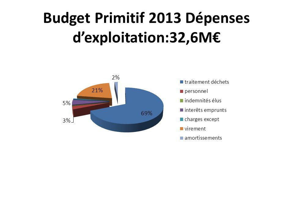 Budget Primitif 2013 Dépenses dexploitation:32,6M