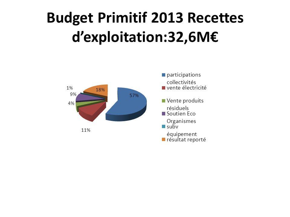 Budget Primitif 2013 Recettes dexploitation:32,6M