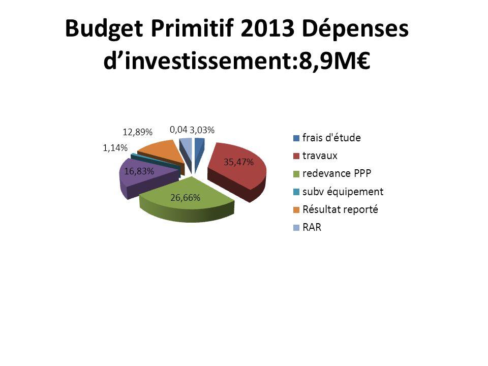 Budget Primitif 2013 Dépenses dinvestissement:8,9M
