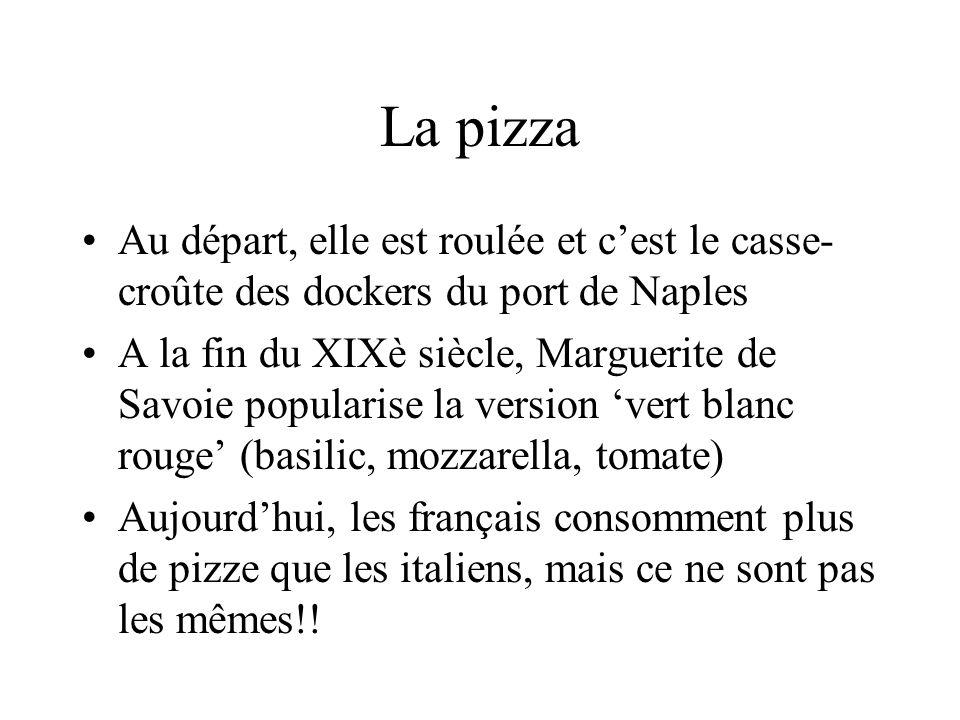 La pizza Au départ, elle est roulée et cest le casse- croûte des dockers du port de Naples A la fin du XIXè siècle, Marguerite de Savoie popularise la