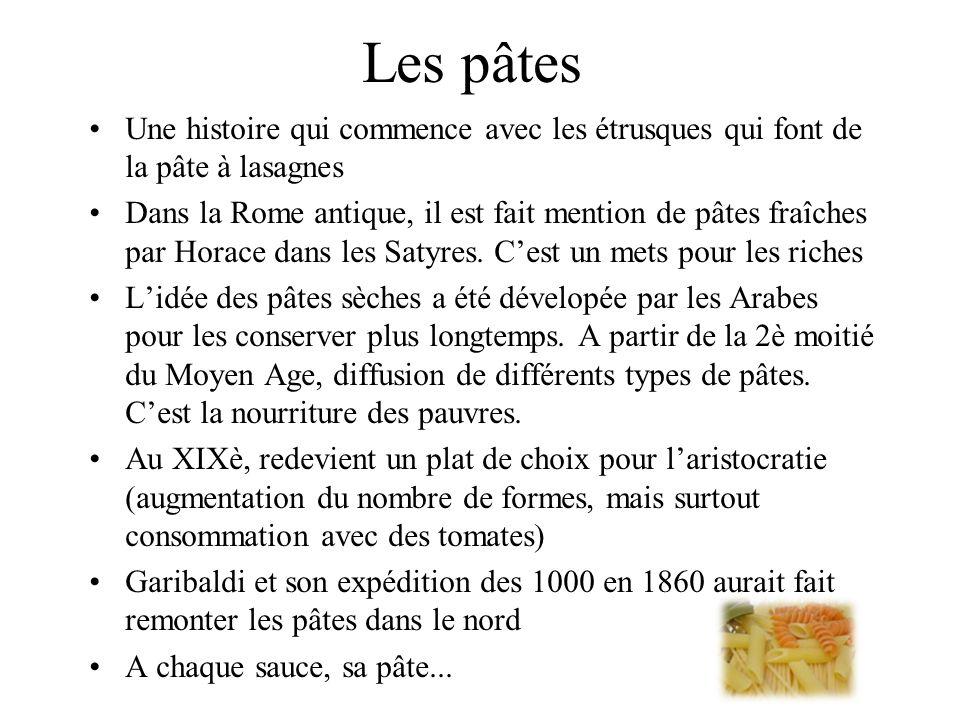 Les pâtes Une histoire qui commence avec les étrusques qui font de la pâte à lasagnes Dans la Rome antique, il est fait mention de pâtes fraîches par