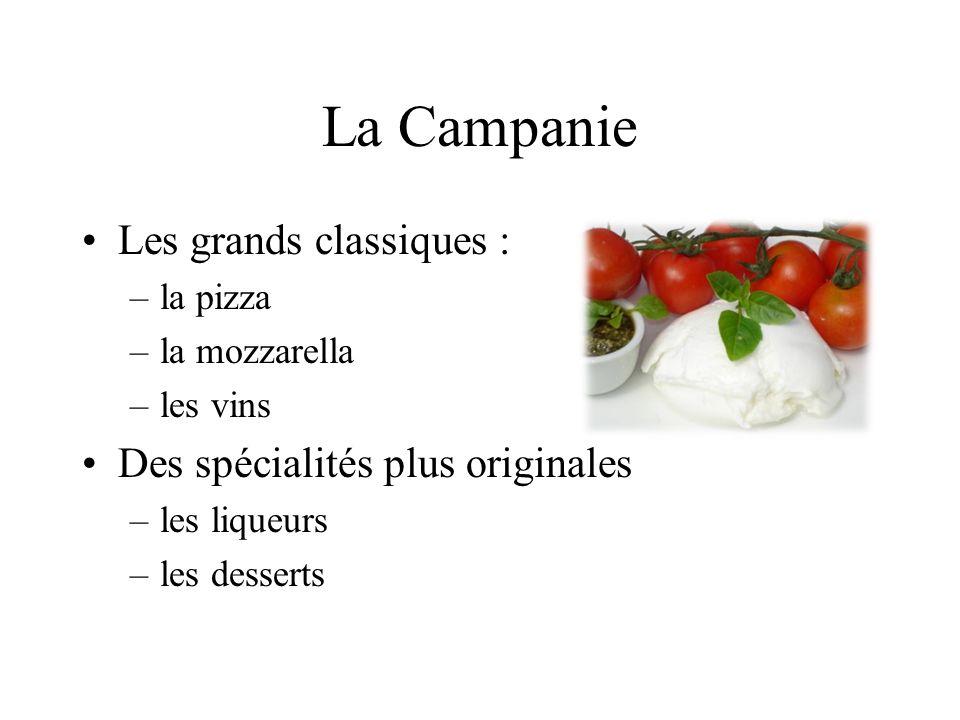 La Campanie Les grands classiques : –la pizza –la mozzarella –les vins Des spécialités plus originales –les liqueurs –les desserts